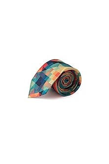 Blue Psychedelic Printed Tie by Closet Code