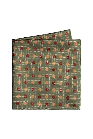 Green Printed Pocket Square by Closet Code