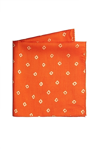 Orange Printed Pocket Square by Closet Code