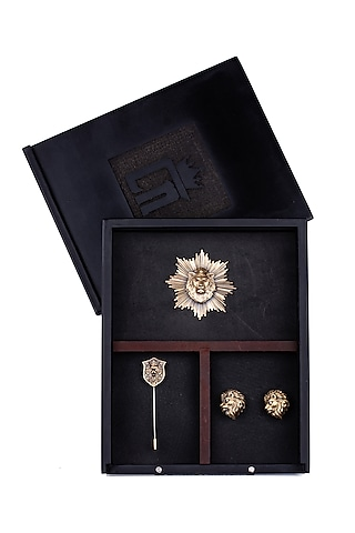 Antique Gold Urban Leo Brooch Set by Cosa Nostraa