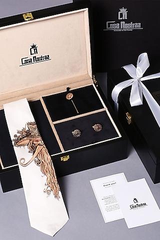 Antique Red Gold Finish Brass & Silk Cufflink Set by Cosa Nostraa