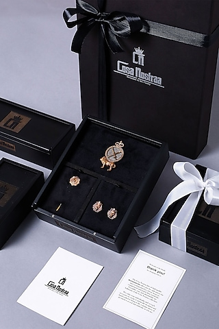 Dual Tone Cufflink Set With Brooch by Cosa Nostraa
