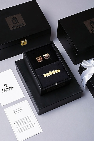 Antique Gold Finish Cufflink Set by Cosa Nostraa
