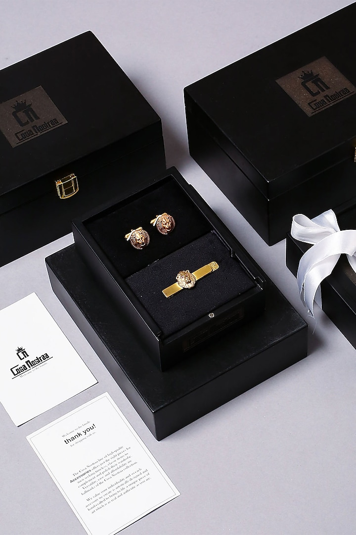 Antique Gold Finish Brass Cufflink Set by Cosa Nostraa