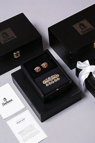 Antique Gold Finish Brass Cufflink Set With Tie Pin by Cosa Nostraa