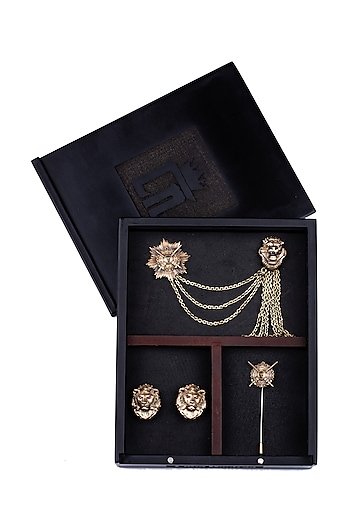 Antique Gold Lion Brooch Set by Cosa Nostraa