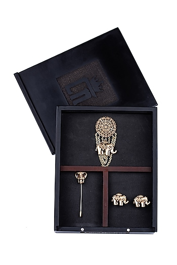 Antique Gold Royal Elephant Brooch Set by Cosa Nostraa