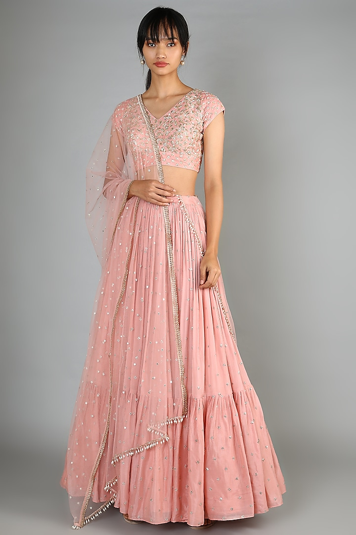 Dusty Pink Embroidered Lehenga Set by Chamee n Palak