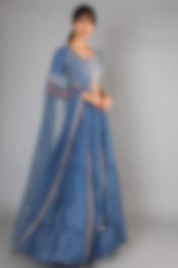 Tara Blue Embroidered Lehenga Set by Chamee n Palak