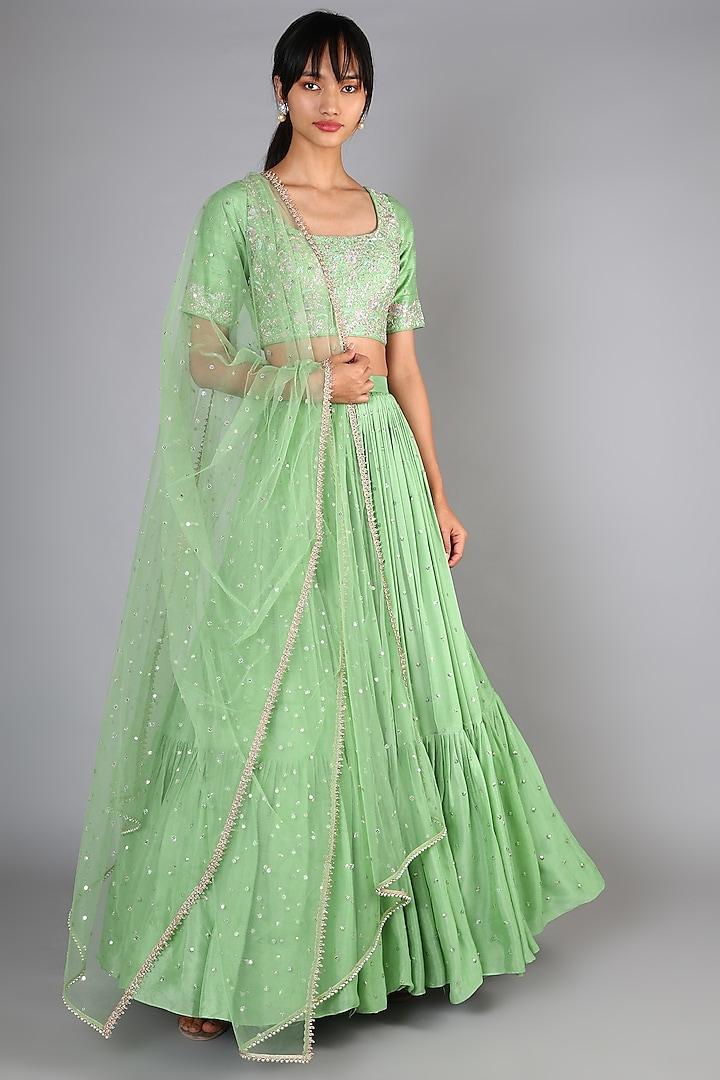 Leaf Green Embroidered Lehenga Set by Chamee n Palak