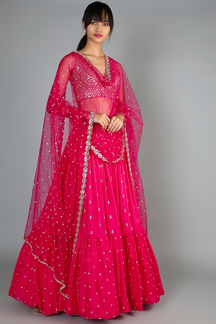 Bright Pink Embroidered Lehenga Set by Chamee n Palak