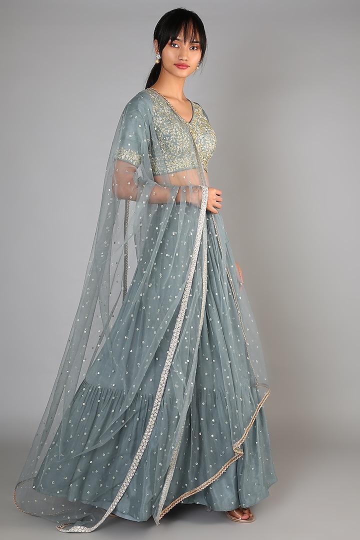 Grey Embroidered & Flared Lehenga Set by Chamee n Palak