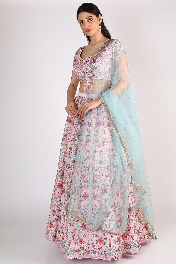 Blush Pink Embroidered Lehenga Set by Chamee n Palak