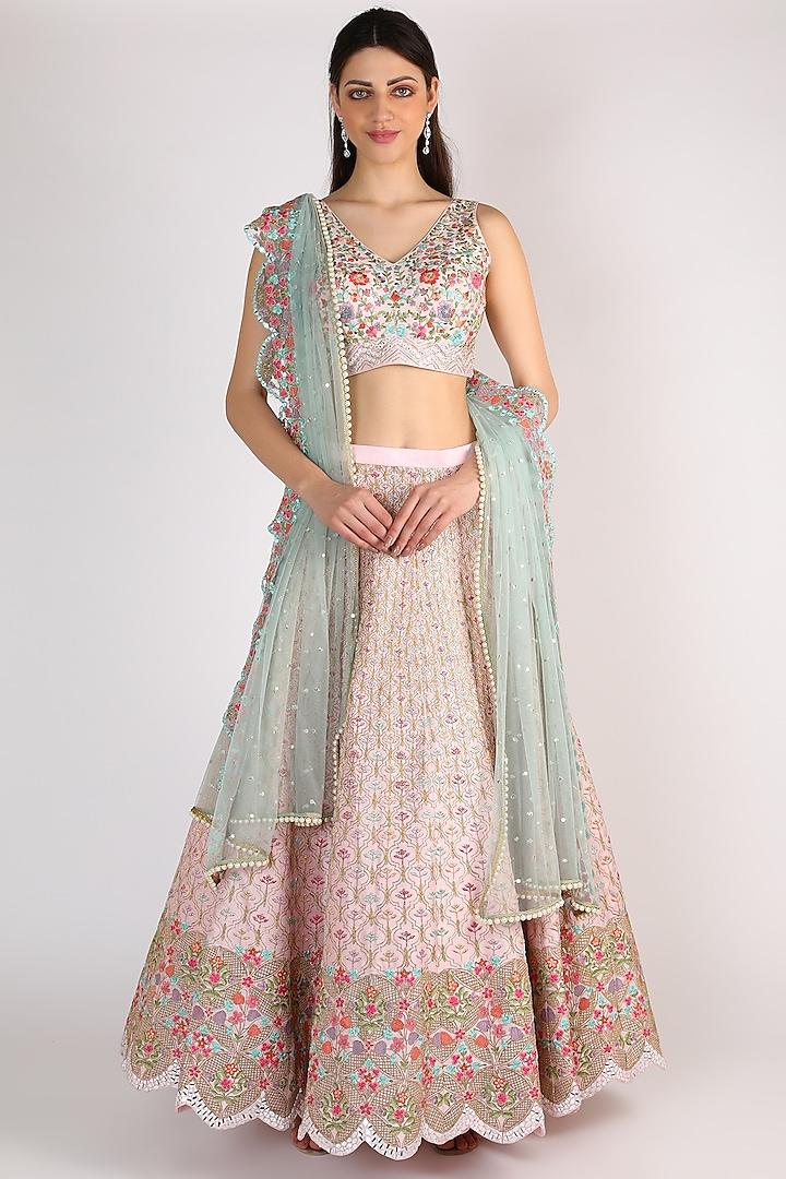 Blush Pink Lehenga Set by Chamee n Palak
