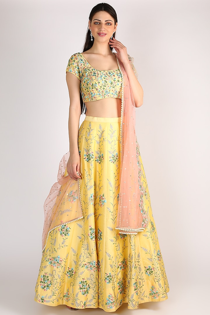 Yellow  Floral Embroidered Lehenga by Chamee n Palak