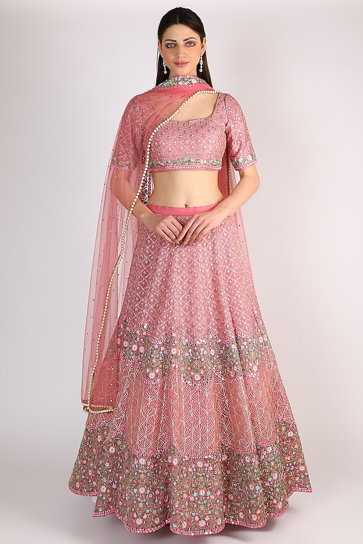 Mauve Floral Embroidered Lehenga Set by Chamee n Palak