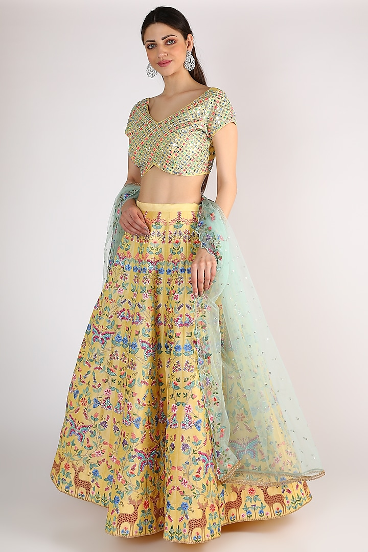 Yellow Embroidered Lehenga Set by Chamee n Palak