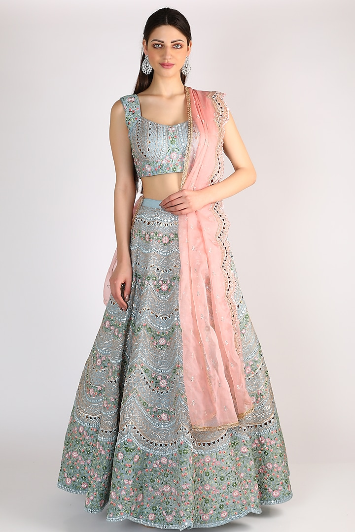 Dusty Blue Embroidered Lehenga Set by Chamee n Palak