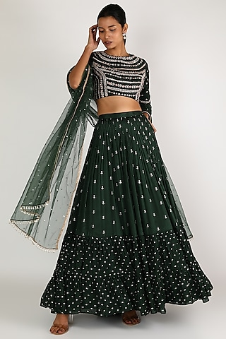 Forest Green Embroidered Lehenga Set by Chamee n Palak