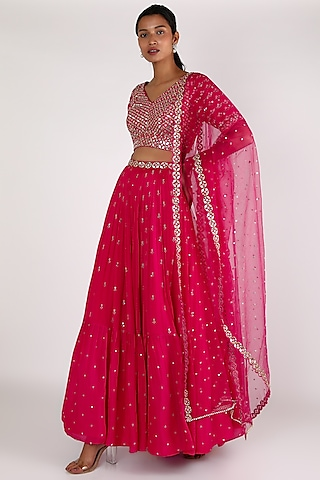 Pink Embroidered Lehenga Set by Chamee n Palak