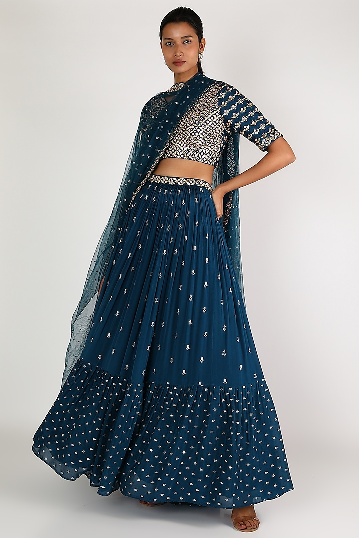 Deep Blue Embroidered Lehenga Set by Chamee n Palak