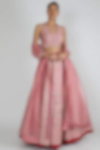 Mauve Pink Embroidered Lehenga Set by Chamee n Palak
