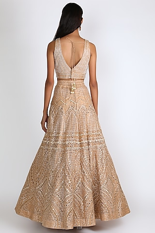 Gold Embroidered Lehenga Set by Chamee n Palak