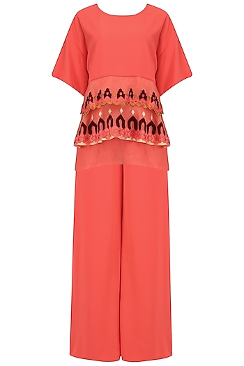 Peach Layered Embroidered Top and Palazzo Set by Chandni Sahi