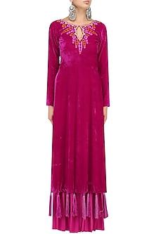 Deep Pink Embroidered Kurta and Pleated Palazzo Set by Chandni Sahi