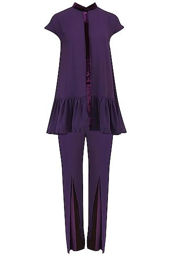 Purple Pleated Peplum and Pants Set by Chandni Sahi