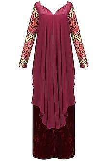 Burgundy Asymmetrical Pleated Kurta and Pants Set by Chandni Sahi