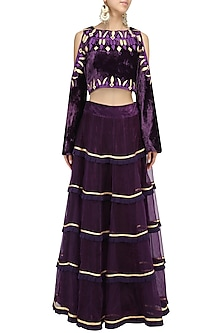Purple Cold Shoulder Embroidered Blouse and Lehenga Set by Chandni Sahi