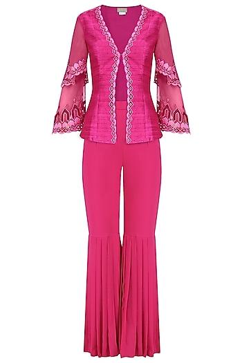Deep Pink Embroidered Layered Jacket and Gharara Set by Chandni Sahi
