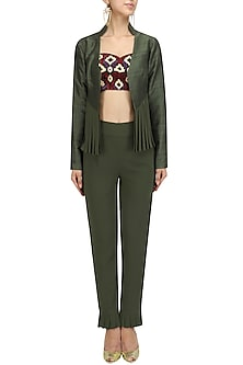 Army Green Pleated Jacket and Embroidered Blouse and Pants Set by Chandni Sahi
