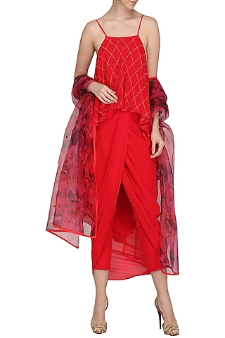 Rose Red Printed and Embroidered Crop Top with Dhoti Set by Chandni Sahi