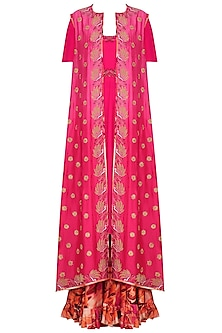 Fuschia Pink Embroidered Anarkali and Jacket with Printed Sharara Pants by Chandni Sahi