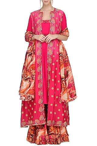 Fuschia Pink Embroidered Anarkali and Jacket with Printed Sharara Pants by Chandni Sahi