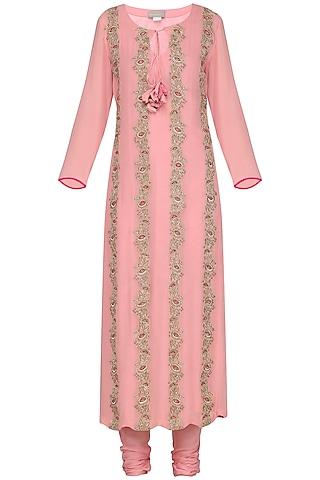 Pink Embroidered and Printed Kurta Set by Chandni Sahi