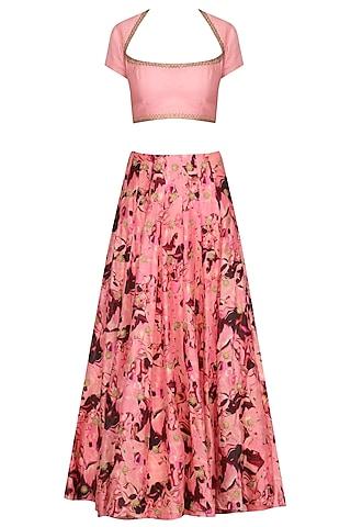 Pink Embroidered and Printed Lehenga Set by Chandni Sahi