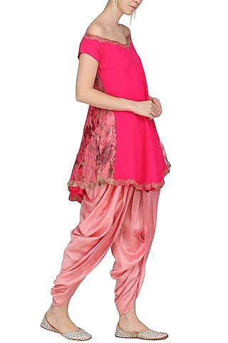 Fuschia Pink Embroidered and Printed Kurta with Dhoti Pants by Chandni Sahi