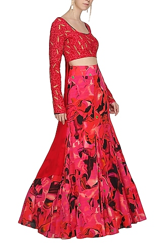 Rose Red Embroidered Blouse with Printed Lehenga Skirt by Chandni Sahi