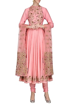 Pink Embroidered and Printed Anarkali Set by Chandni Sahi