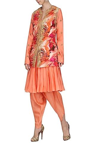 Burnt Peach Embroidered Kurta with Dhoti Pants and Printed Jacket by Chandni Sahi