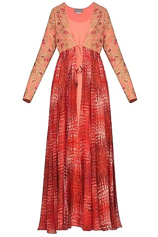 Burnt Peach Floor Length Kurta with Embroidered and Printed Jacket by Chandni Sahi