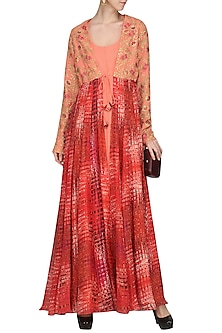 Burnt Peach Floor Length Kurta with Embroidered and Printed Jacket by Chandni Sahi