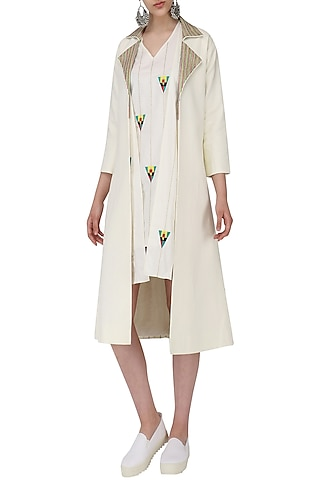 Off White Shift Dress with Trench Jacket by Chandni Sahi
