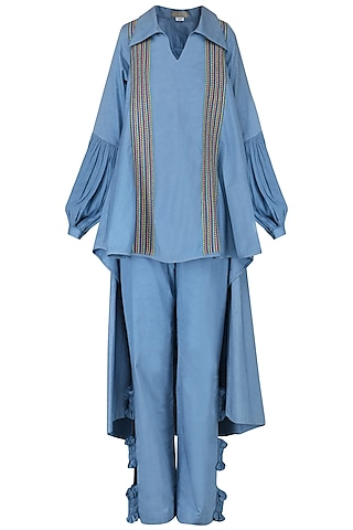 Powder Blue Embroidered Cape Shirt with Ruched Pants by Chandni Sahi