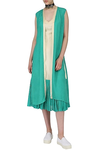 Sand Brown and Green Slip Dress with Overlay Jacket by Chandni Sahi