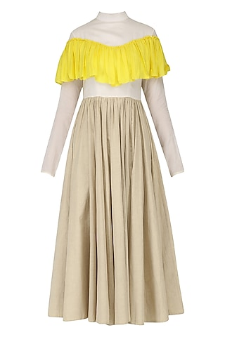 Sand Brown, Off White and Yellow Ruffled Midi Dress by Chandni Sahi