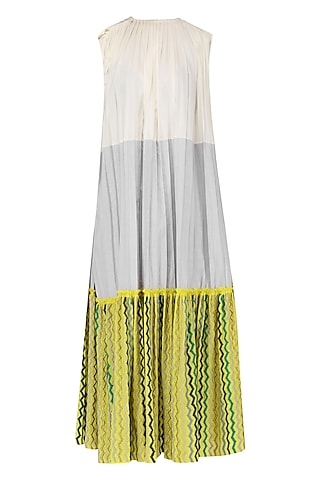 Off White, Grey and Yellow Color Blocked Pleated Dress by Chandni Sahi
